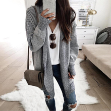CYSINCOS Winter Long Knitted Sweater Cardigan Women Open Stitch Vintage Plaid Female Casual Autumn Coat Outwear