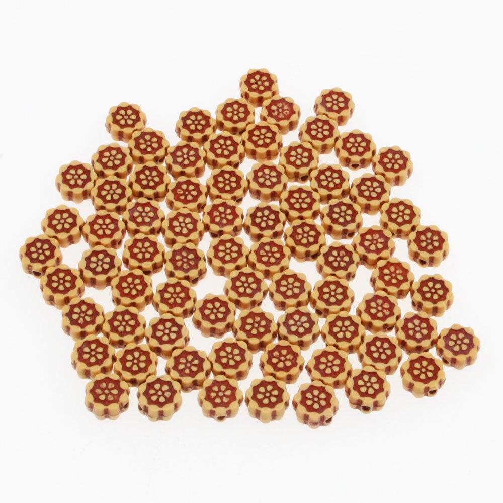 100pcs 10*5mm À faire soi-même Mixte Coloré oblat Petit Bois Perles Charms Bracelet Making