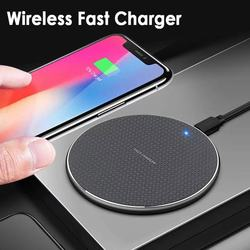 New Gift Customized round Wireless Phone Charger Ultra Thin 10W Aluminum Alloy Desktop Wireless Charger