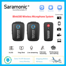 Saramonic Blink500 אלחוטי מיקרופון מערכת 2.4GHz הכפול ערוץ Lavalier סטודיו מיקרופון עבור DSLR Canon Nikon Sony ראיון Vlog