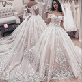 2020 Ball Gown Wedding Formal Dresses With Train Vintage Off Shoulder White Applique Lace Bridal Gown Lace Up Bridal Gown Custom
