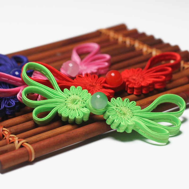 5 pares chinês sapo fechamento botões nó prendedor para cheongsam tang terno forma de crisântemo jade artesanal frisado botão
