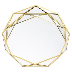 Ins Nordic Golden Western Cake Dessert Plates Geometric Round Glass Plate Cosmetic Jewelry Storage Tray Decoration Supplies Larg|Makeup Organizers| |  -
