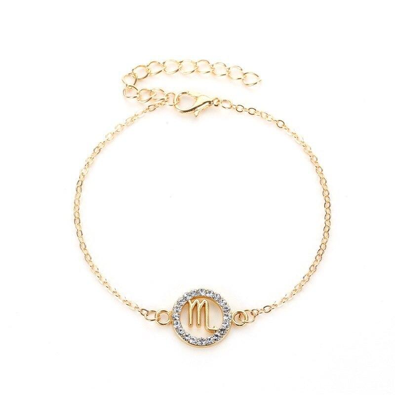 Одиночная продажа, браслет, золотые двенадцать браслеты с изображениями созвездий, Телец, Стрелец, Скорпион, ювелирные изделия для женщин, п...