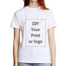 VZFF Bedrukte T-shirt voor Vrouwen DIY Foto LOGO Tekst Print Wit Lady Slim Top Tees Warmte-overdracht Proces
