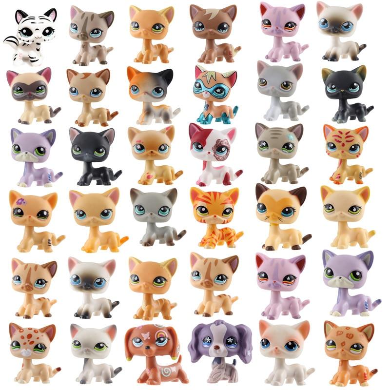 Lps Редкие pet shop игрушки стоят немного короткие волосы Кошка милый розовый дог такса собака старые оригинальные игрушки для домашних животны...