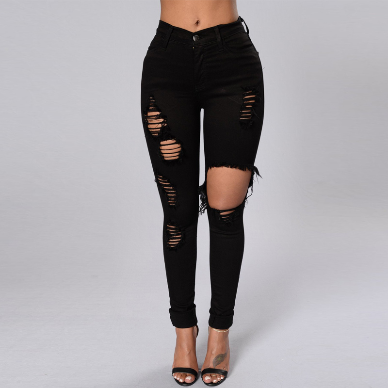 Black Ripped Jeans For Women Denim Pencil Pants Trousers High Waist Stretch Skinny Jeans Torn Jeggings Plus Size Clothing 2020