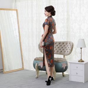 Image 4 - summer 2019 new high end silk cheongsam improved elegant long mulberry silk short sleeve cheongsam dress women Retro