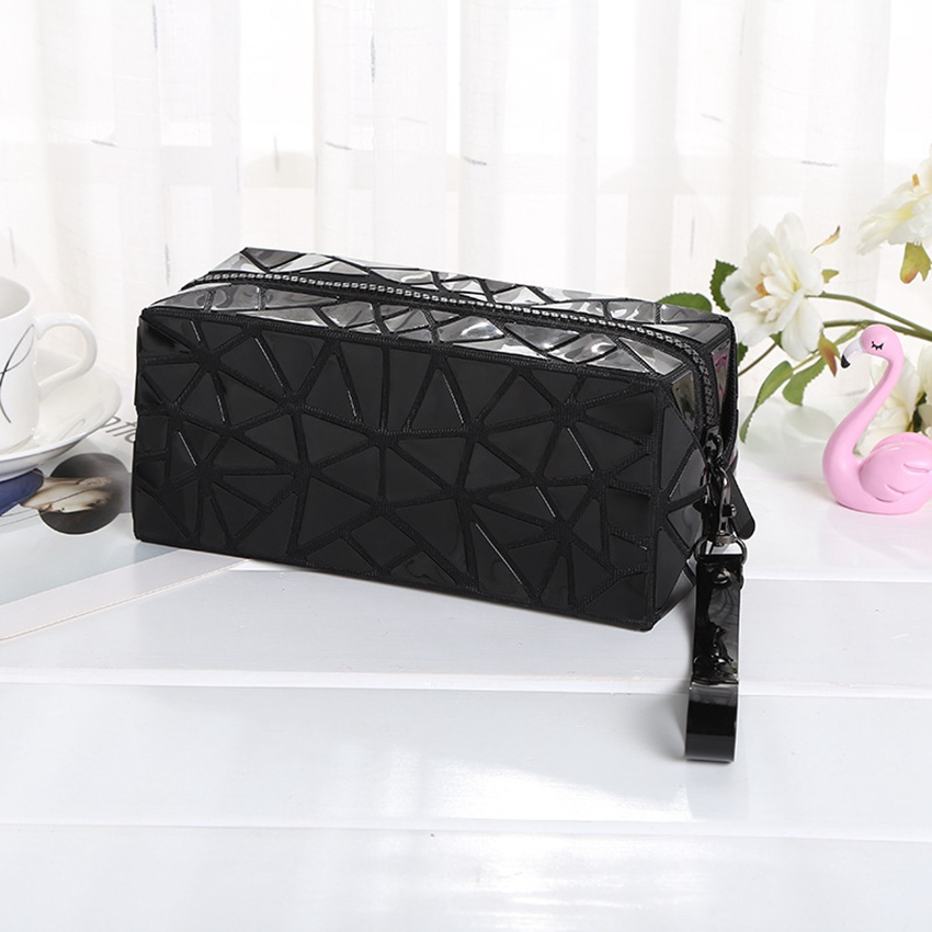 WSYUTUO Geometric Cosmetic Bag Geometric Folding Women Make Up Bag Travel Makeup Case Beauty Bag Organizer Toiletry Kit Pouch