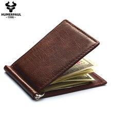 Clip de dinero de marca famosa para hombre, billetera plegable de cuero genuino para hombre, billetera para tarjetas, monedero delgado con abrazadera