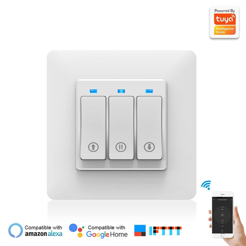 New Curtain Smart Switch Phone APP Remote Controlling Mechanical Button Smart Curtain Controller With Indicator Light EU PLUG