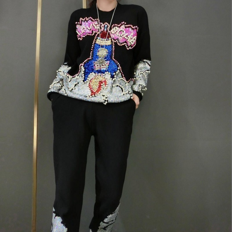 Autumn Winter Embroidered Flares Sequins Womens Kintting 2Pcs Sets Long Sleeve O-Neck T-Shirts Elastic Waist Full Length Pants