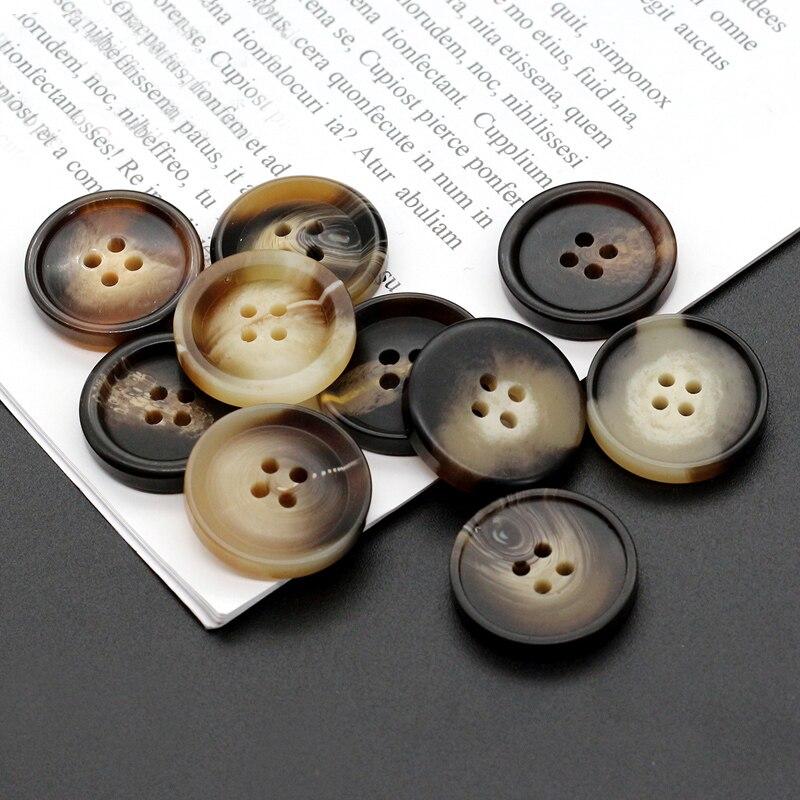 Novo 20 pçs resina 4 furos botões acessórios de costura tamanho completo para roupas decorativos botões de plástico artesanal diy