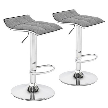 2 Soft-Packed Square Board Curved Foot Bar Stools Cotton And Linen Fabric Dark Gray 18 5 dark gray and light gray and white and transparent holographic rear projection film