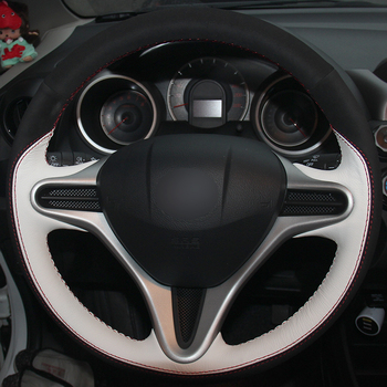 White Leather Black Suede Car Steering Wheel Covers for Honda Fit 2009-2013 City Jazz Steering Wheel Covers