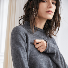 LHZSYY 2019 Autumn Winter New Womens Pure Cashmere Sweater Fashion Loose curl Half-High Collar Knit Pullover Short Warm