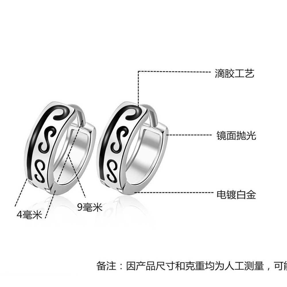 1 คู่ 925 เงินสเตอร์ลิง Piercing Hoop ต่างหูสำหรับ Men ผู้หญิง CROSS Heart หูเครื่องประดับ