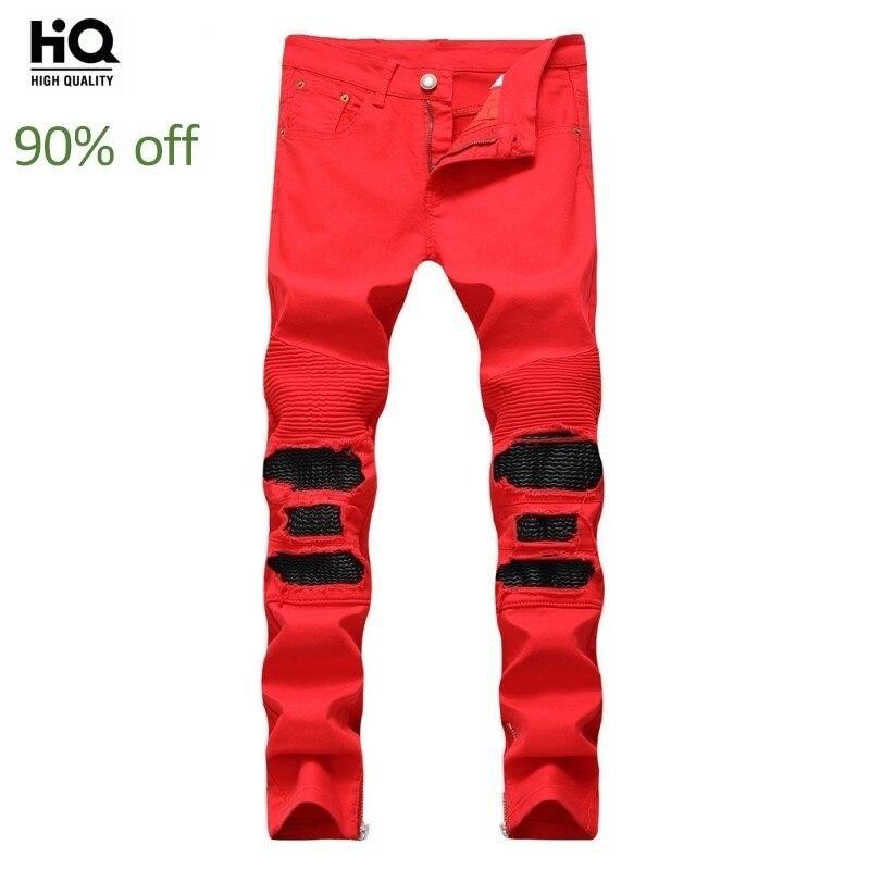 2020 Autumn New Men Jeans Slim Straight Leg Hole Pleated Jeans Pants Red Black Side Zipper Trousers Male Streetwear Plus Size 38
