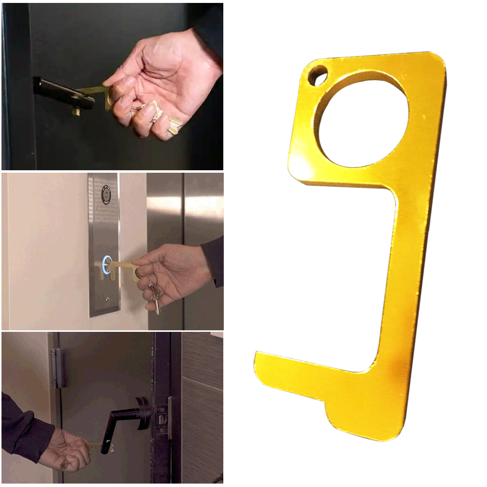Fast Shipping Household Door Handle Key Touchless Brass EDC Door Opener Mulit-function Press Elevator Tool Support
