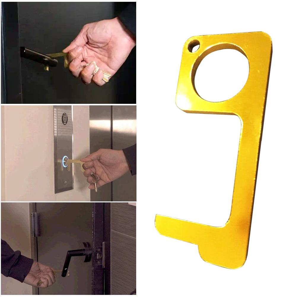 Fast Shipping Household Door Handle Key Touchless Brass EDC Door Opener Mulit-function Press Elevator Tool Support