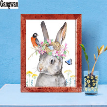 5D square round stones full diamond embroidery crystal diamond painting mosaic diy watercolor Easter Rabbit bird pattern needle(China)