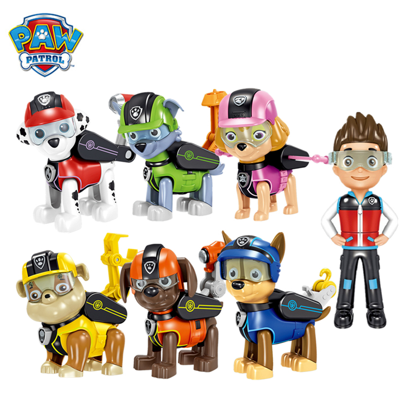 7pk Paw Patrol Action Pack Pups  Figure Dolls Set Mission Paw Toys Ryder Marshal Skye Rubble Rocky Chase Anime Model Kids Gift