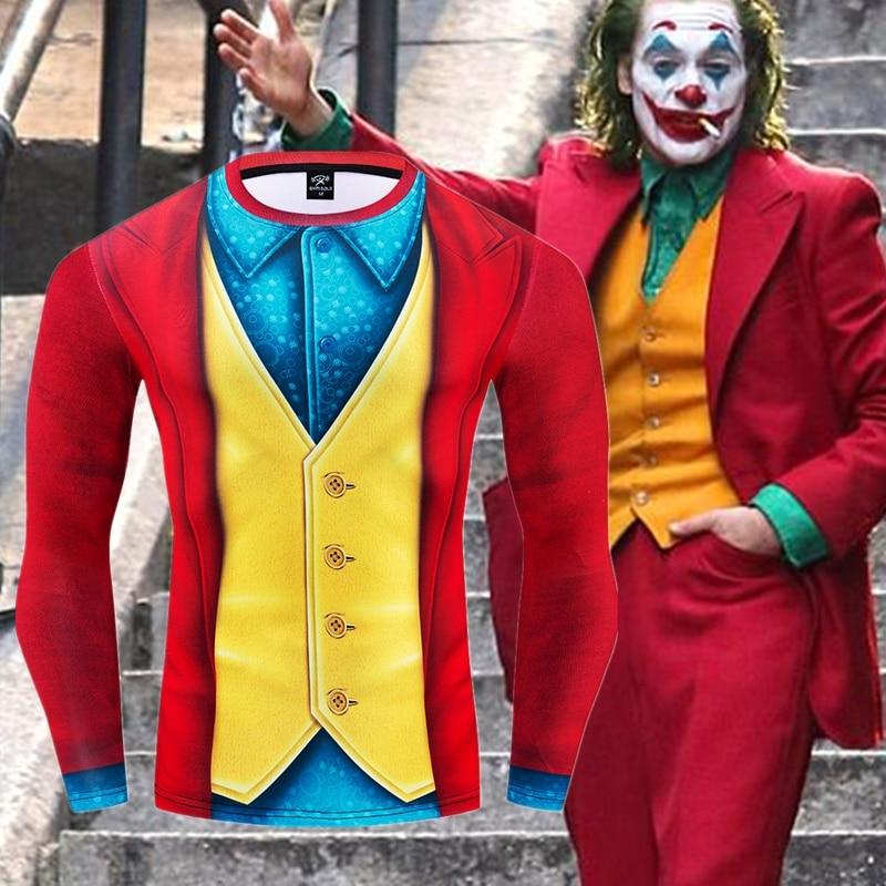Joker 2019 Joaquin Phoenix Arthur Fleck Cosplay Costume Halloween 3D Printed Compression T-shirt Finess Quick-Drying Tight Tops
