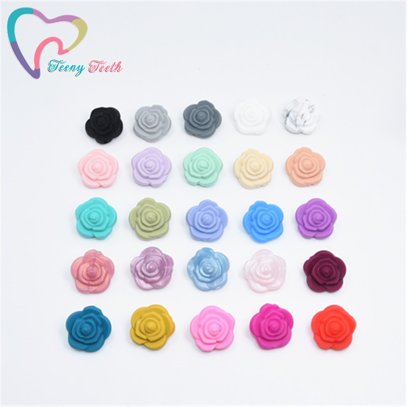 10PCS Mini Flower Pearl Silicone Rose Teether Bead BPA Free Baby Teething Necklace Toys DIY Newborn Chewable Pacifier Clip Chain