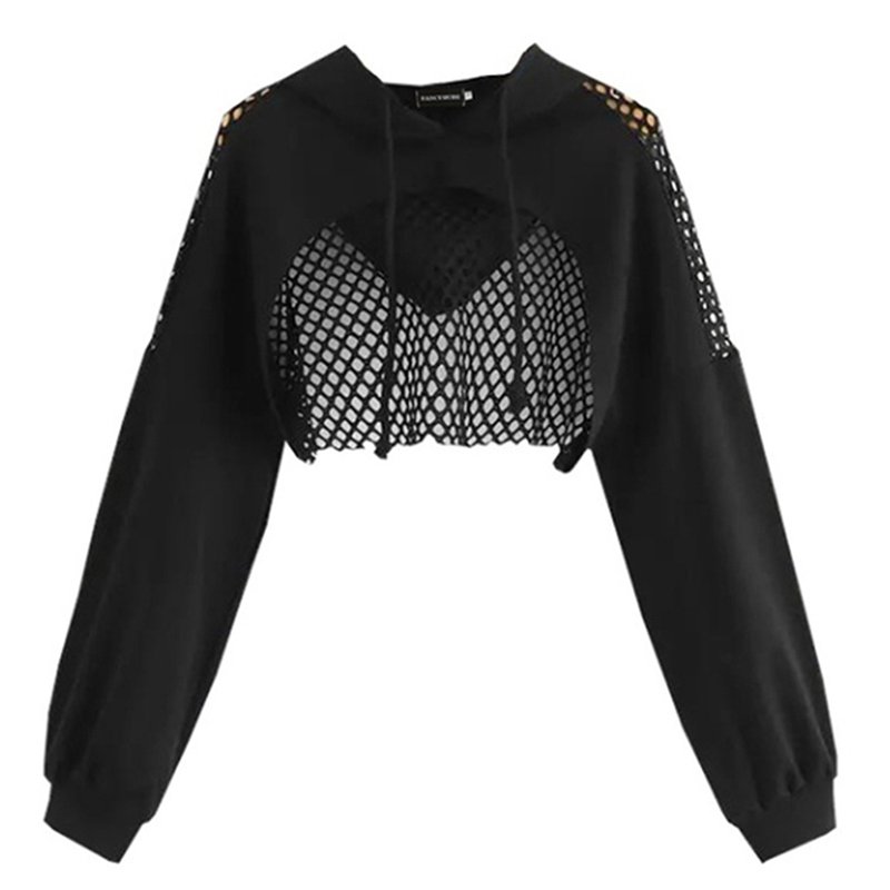 Black Hoodies For Women 2020 Hollow Out Crop Tops Mesh Patchwork Short Sweatshirt Long Sleeve Autumn Tops And Pullovers