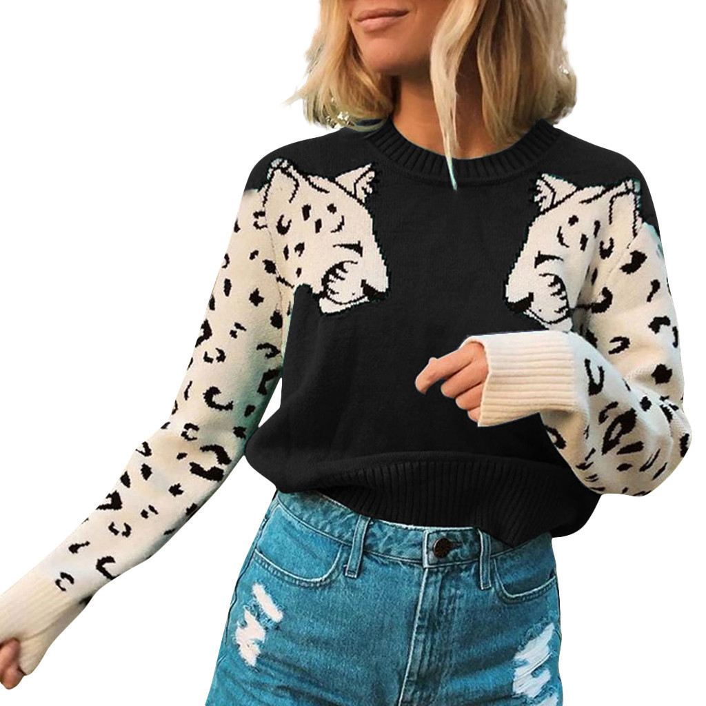 2019 Fashion Sweater Women Animal Leopard Print Patchwork O-Neck Loose Sweaters Pullovers Knitted Winter Sueter Mujer New Z0927