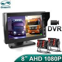GreenYi 8 zoll 1920x1080P DVR Aufnahme IPS Bildschirm Lkw Fahrzeug AHD Monitor AHD IR Auto Vorne/rückansicht Kamera