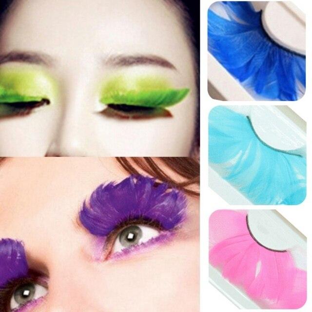1 Pair Fake Eyelashes Colorful Feather 3D Natural Long Exaggeration Eyelashes Maquiagem Stage False Eye Lashes Party Face Makeup 2