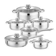 Velaze Cookware Set 12-Piece Kitchen Stainless Steel Cooking Pot & Pan Sets,Induction Safe,Saucepan,Casserole,pan with Glass lid