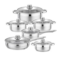Velaze Cookware Set 12 Piece Kitchen Stainless Steel Cooking Pot & Pan Sets,Induction Safe,Saucepan,Casserole,pan with Glass lid