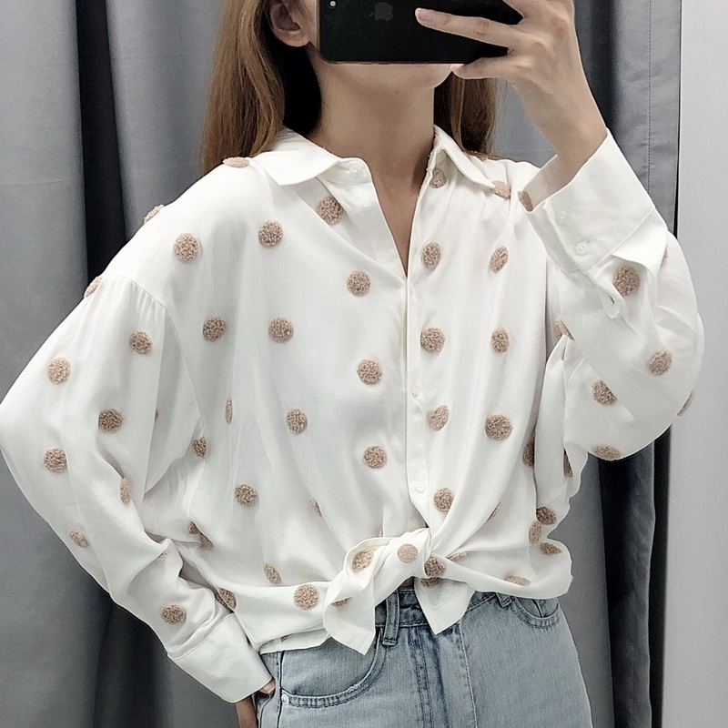 Women Black White Shirt Autumn 2019 New Fashion Full Sleeve Popular Dot Embroidery Blouse Personality Tops