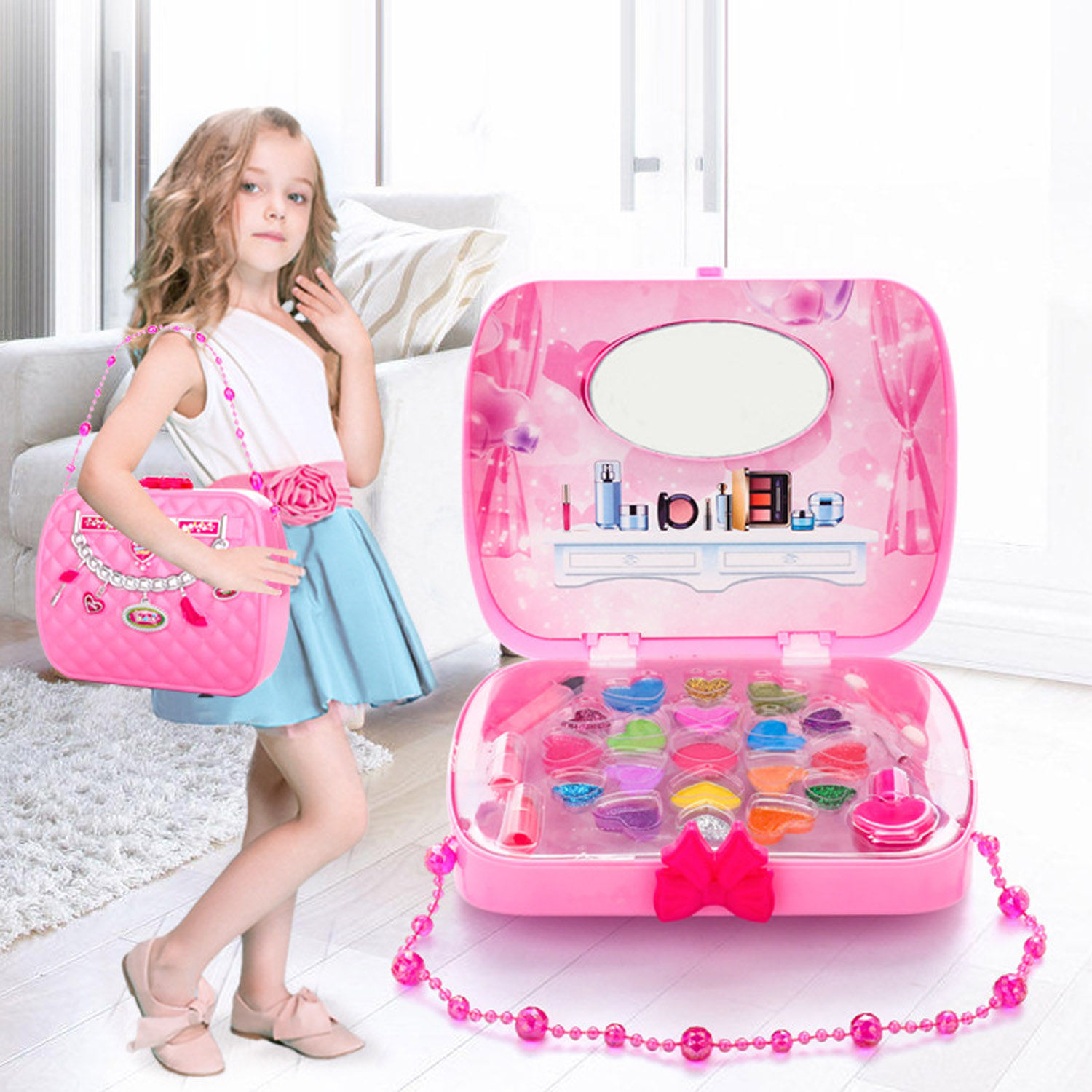 Kids Children Girls Makeup Cosmetic Pretend Play Toys Kit With Handbag Box For Birthday Christmas New Year Children Day Gifts