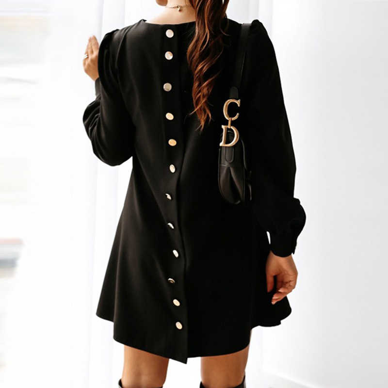 Mulheres elegantes de metal abotoado mini vestido casual primavera o pescoço vestido de festa sólido outono feminino manga longa vestidos de linha a