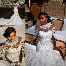 Luksusowe pełna frezowanie suknia ślubna o kroju syreny z pełne rękawy amanda novias marki
