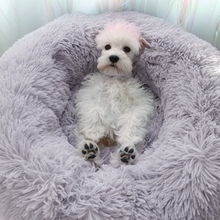 Warm Fleece Dog Bed Donut Cat Faux Fur Beds Kennel for Medium Small Dogs - Self Warming Indoor Round Pillow Cuddler