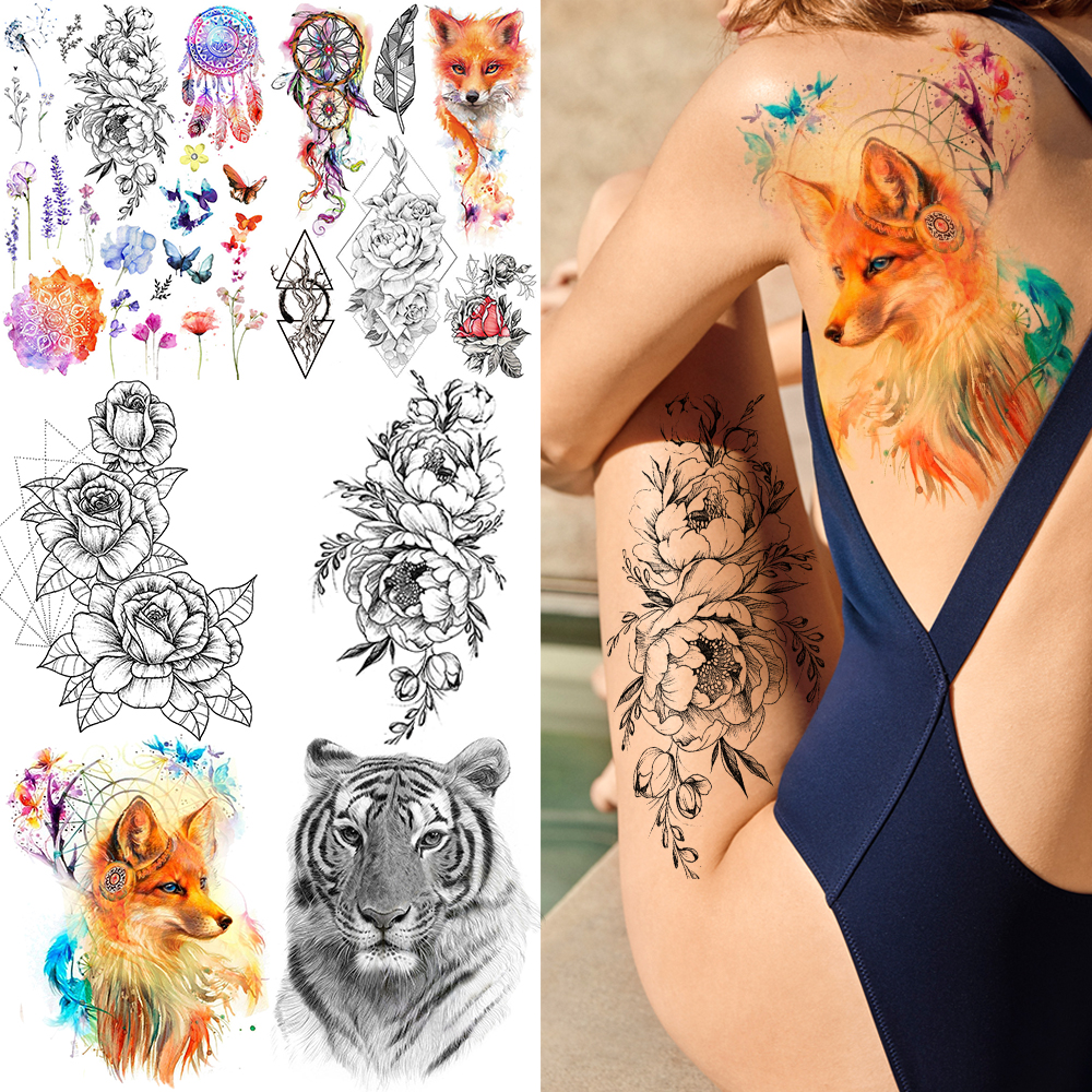 GoldOcean Sexy Flash Fake Fox Waterproof Tattoos Stickers Women Chest Body Arm Tattoo Temporary Dreamcather DIY Girl Flower Tato