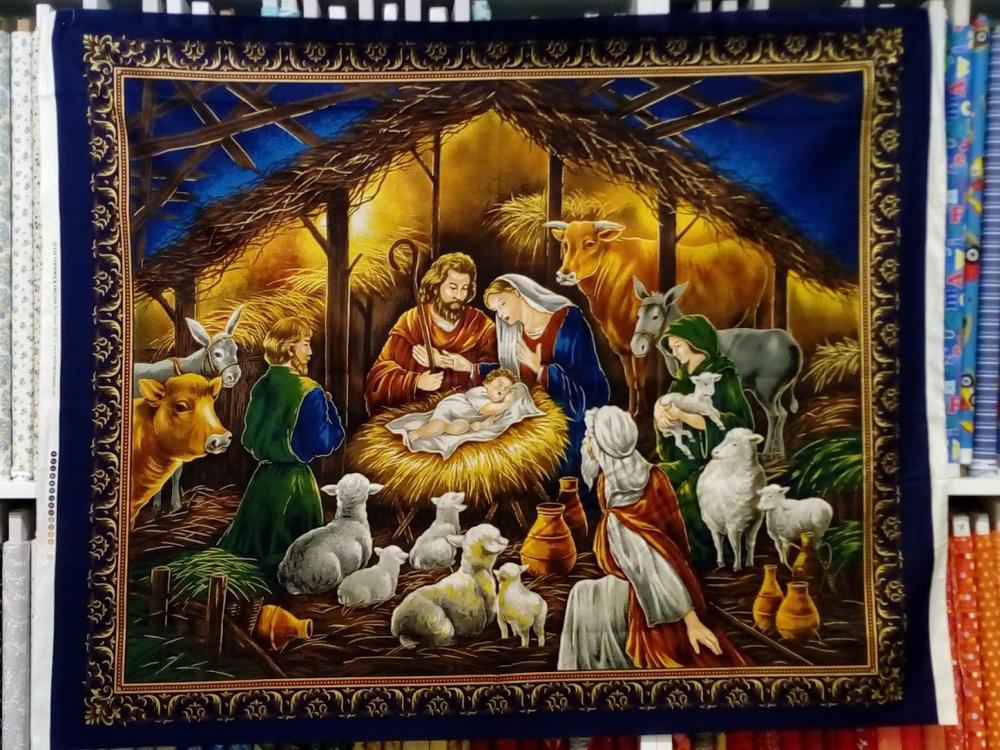 Novelty Christmas Tapestry Twinkle Light Jesus Is Born Embroidery Wall Decor