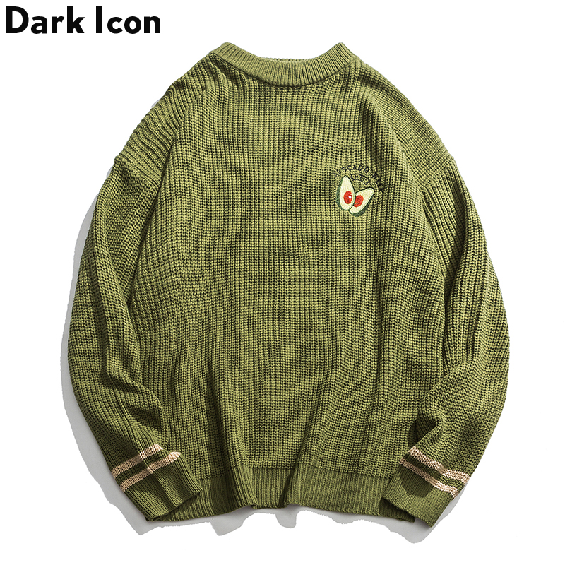 Dark Icon Avocado Green Sweater Men Pullover Knitwear Oversized Casual Men's Sweater Streetwear Top For Female