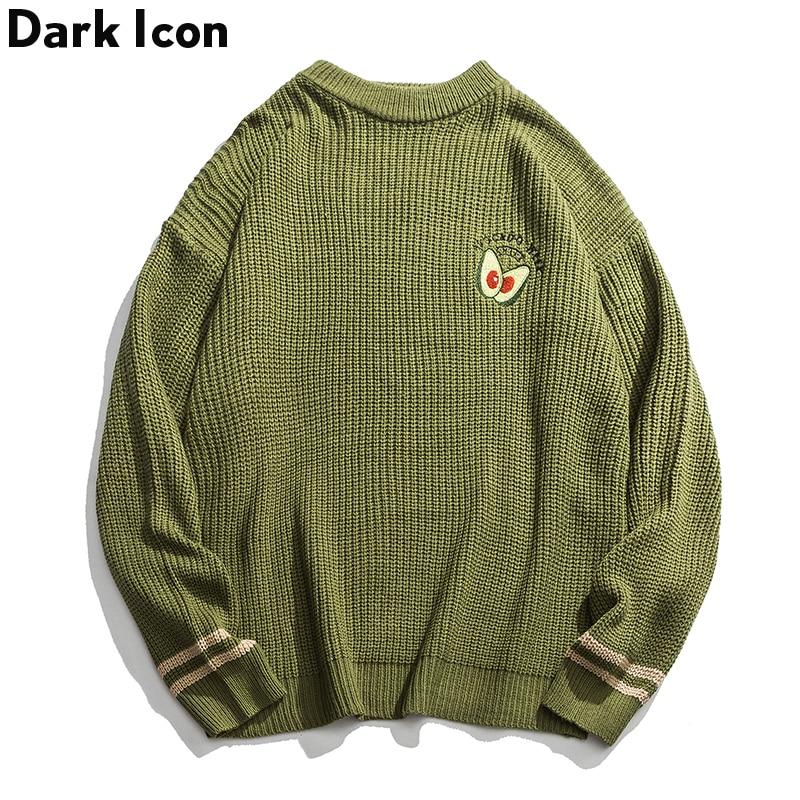 Dark Icon Avocado Green Sweater Men Pullover Knitwear Oversized Casual Men's Sweater Streetwear Top For Female