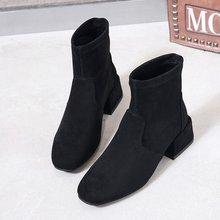 Шикарные женские ботинки; блестящая обувь из искусственной кожи; сезон осень-зима; женские ботильоны на блочном каблуке с носком; женская обувь