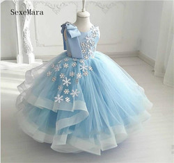 Ball gown sky blue tulle flower girl dress little girl birthday party gown kids clothes custom made size 12M-14year