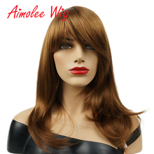 цена на Aimolee Medium Wig with Oblique Bang Natural Yaki Straight Synthetic Wigs for Women Auburn Wig Heat Resistant Fiber Hair Wig