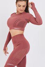 Gymwolves Frauen Lange-Sleeve Nahtlose Sport T-Shirt   Claret Red   Crop Tops   Aktive Power Serie