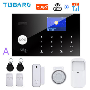 Tugard Tuya Wifi Gsm Home Burglar Security Alarm System 433MHz Apps Control LCD Touch Keyboard 11 Languages Wireless Alarm Kit 15