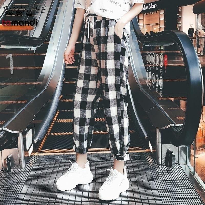 Pants Women 2020 Plaid Students Korean Style Leisure Ankle-Length Loose Pockets Patchwork Harem Trousers Female Retro Simple