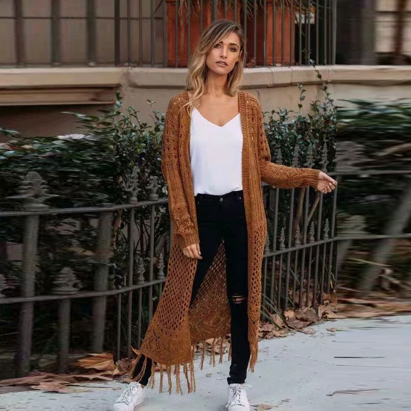 Casual Hollow Out Women Sweater Cardigan Solid Winter Knitted Cardigan Chic Long Tassel Knitwear Cardigans Jumpers